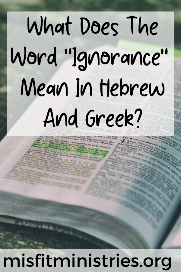What does the word ignorance mean in Hebrew and Greek?
