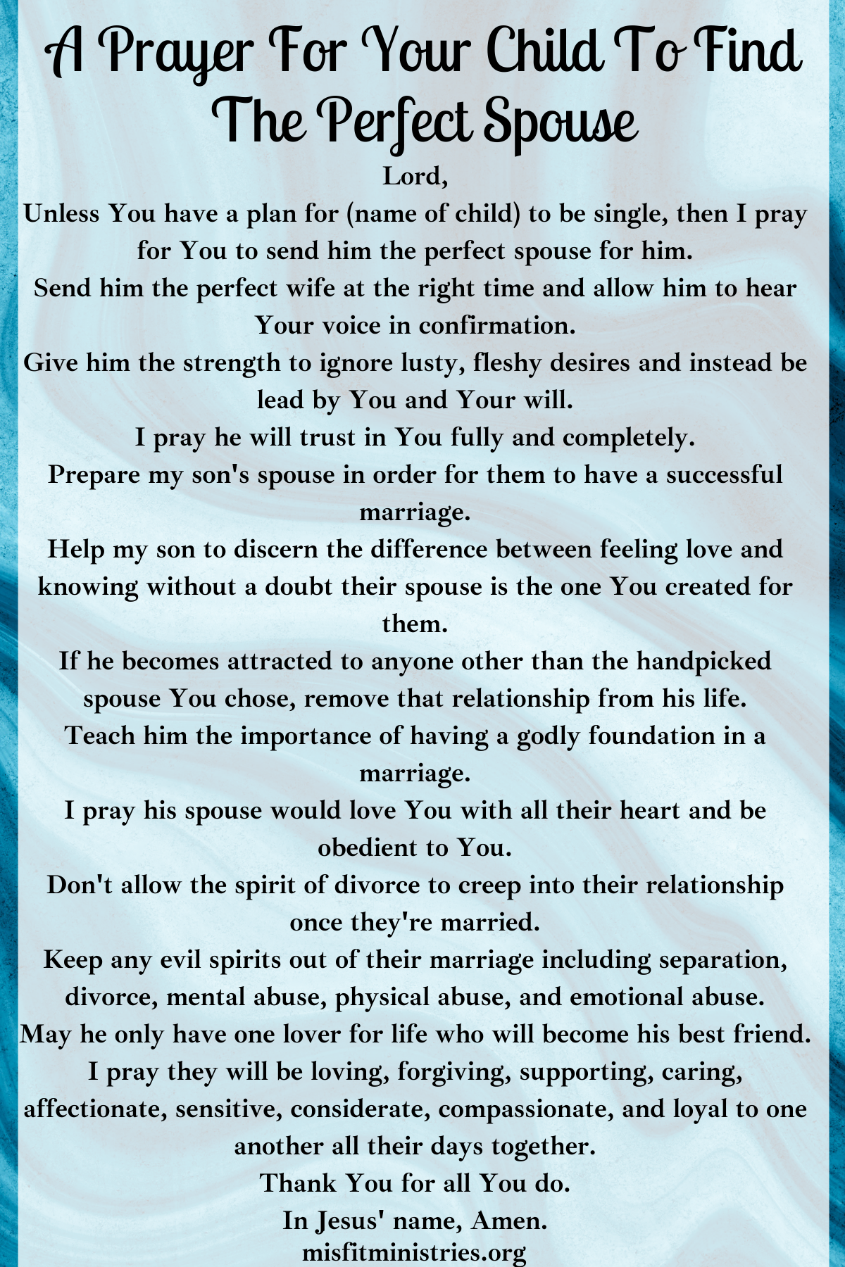 a prayer for your child to find the perfect spouse