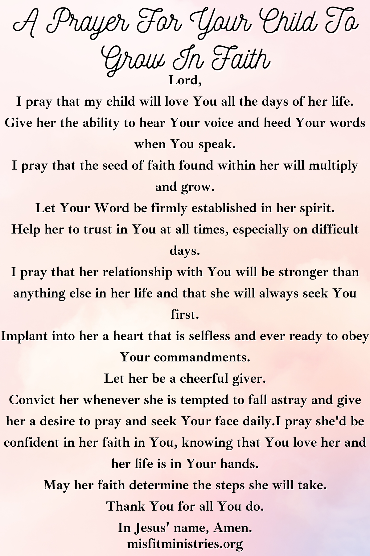 a prayer for your child to grow in faith