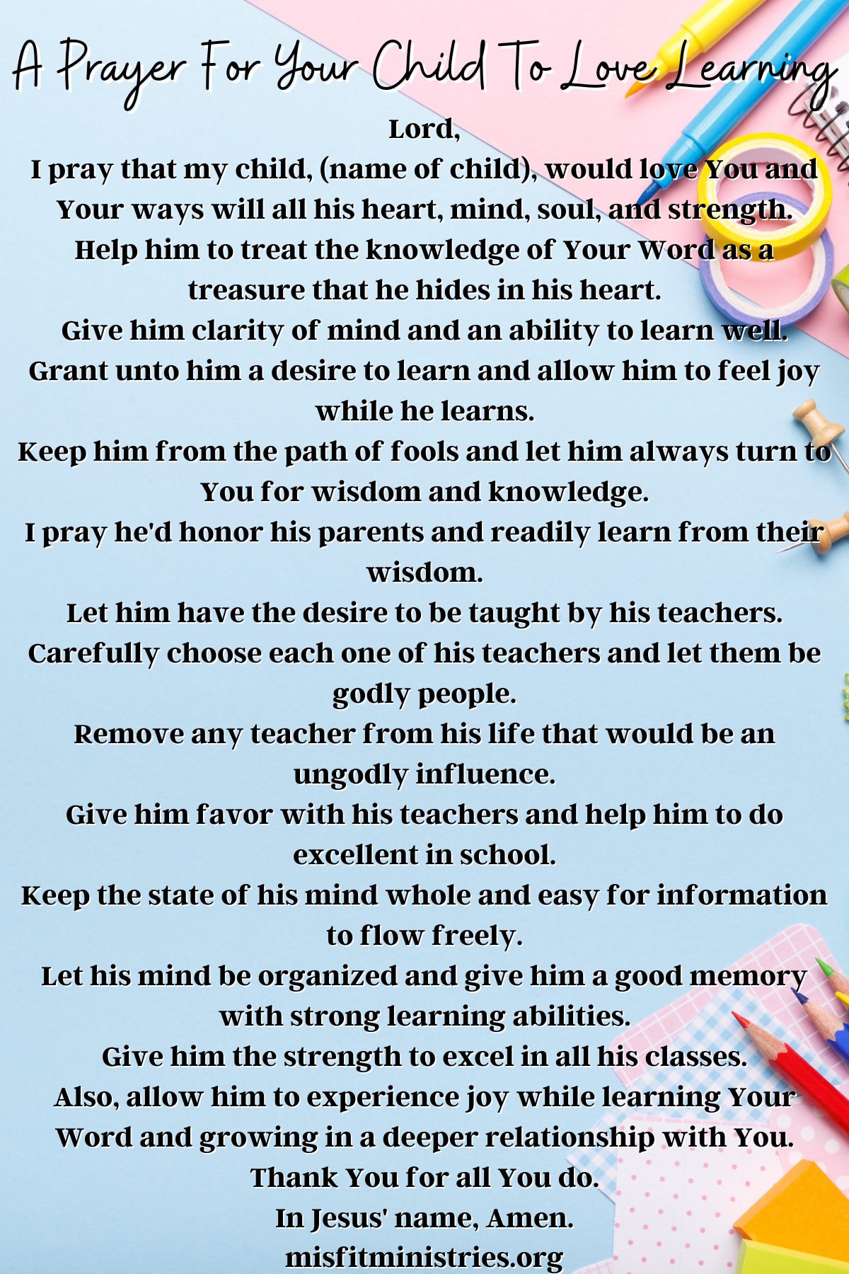 a prayer for your child to love learning