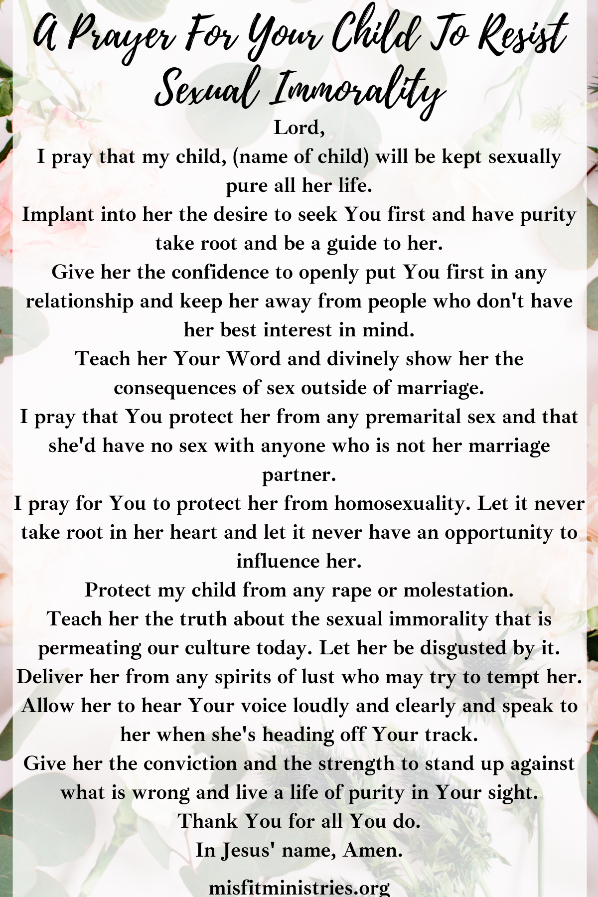 a prayer for your child to resist sexual immorality