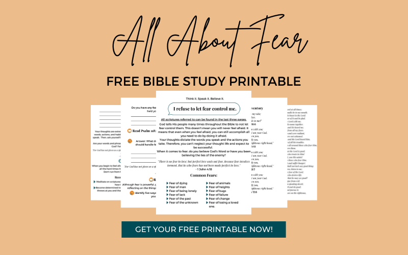 Bible Study Worksheets About Fear