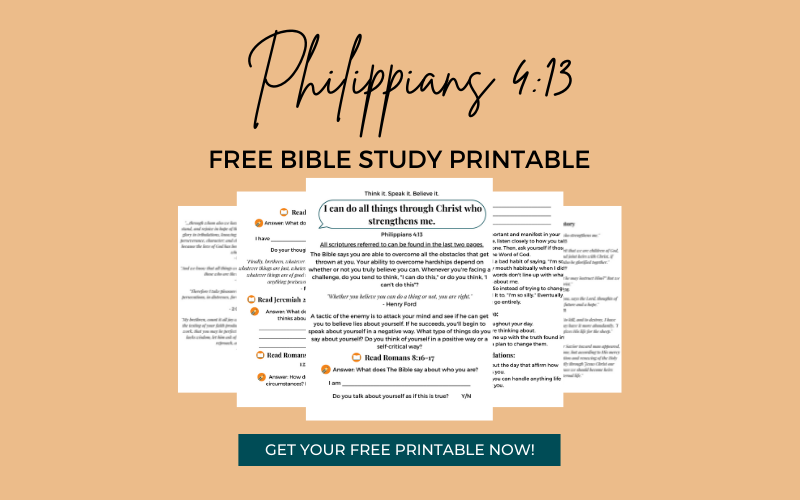 Bible Study Worksheets For Philippians 4:13